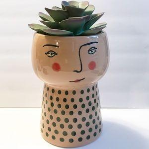 Large Modern Face Stoneware Planter-Vase